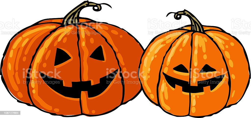 Cute Pumpkin Siblings royalty-free stock vector art