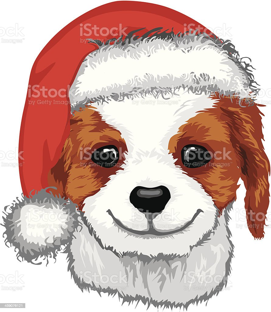 Cute Puppy In Santa Hat royalty-free stock vector art