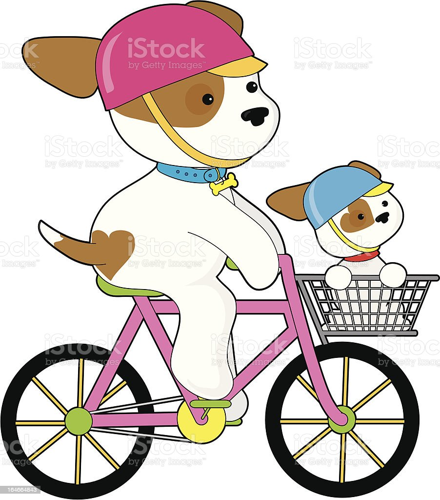 Cute Puppy on Bike royalty-free stock vector art