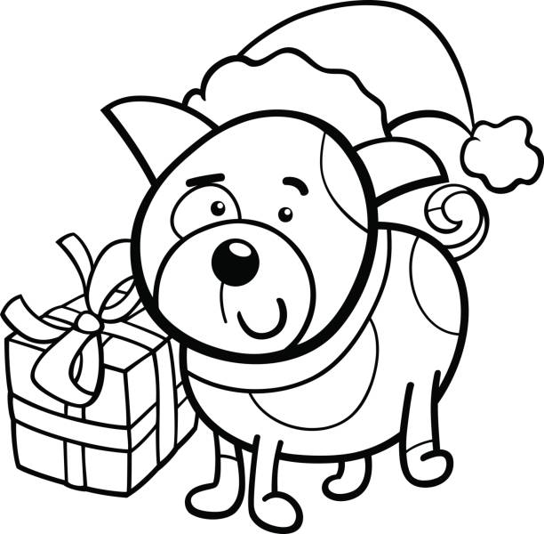 cute puppy on christmas coloring book vector art illustration