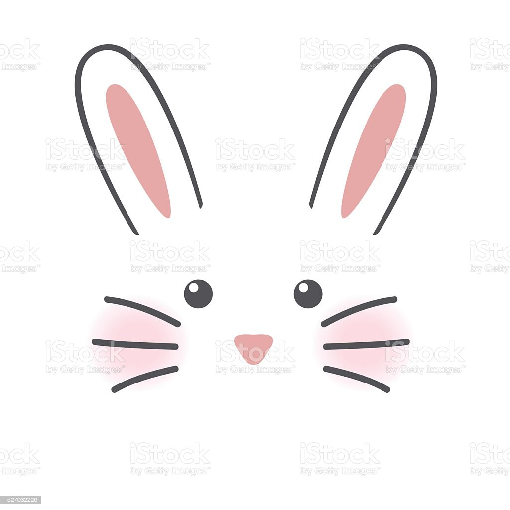 Cute rabbit face vector art illustration