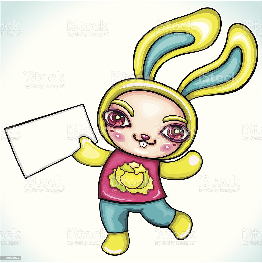 Cute rabbit holding blank paper. royalty-free stock vector art