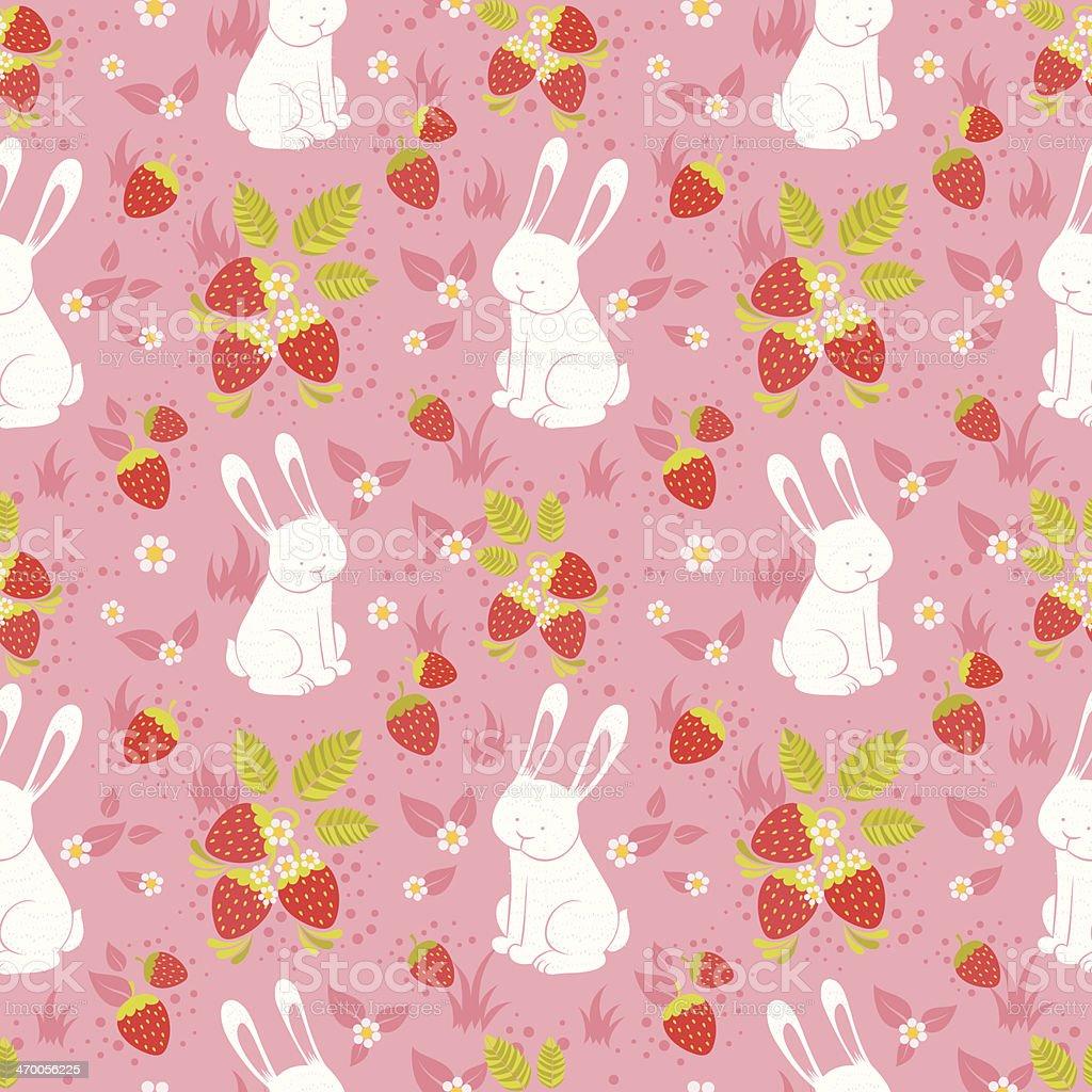 Cute rabbits and wild strawberries folk seamless pattern royalty-free stock vector art