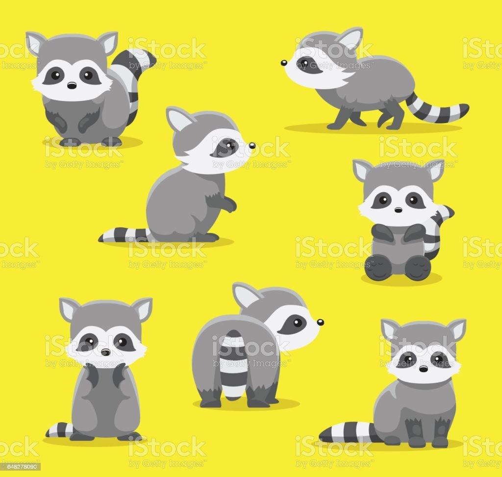 Cute Raccoon Poses Cartoon Vector Illustration vector art illustration