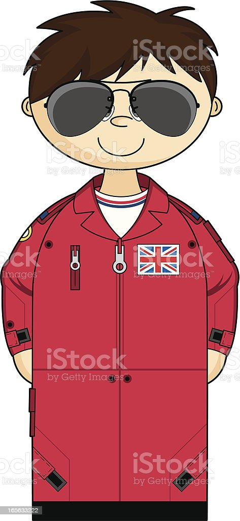 Cute Red Arrow Pilot in Flight Suit and Shades vector art illustration