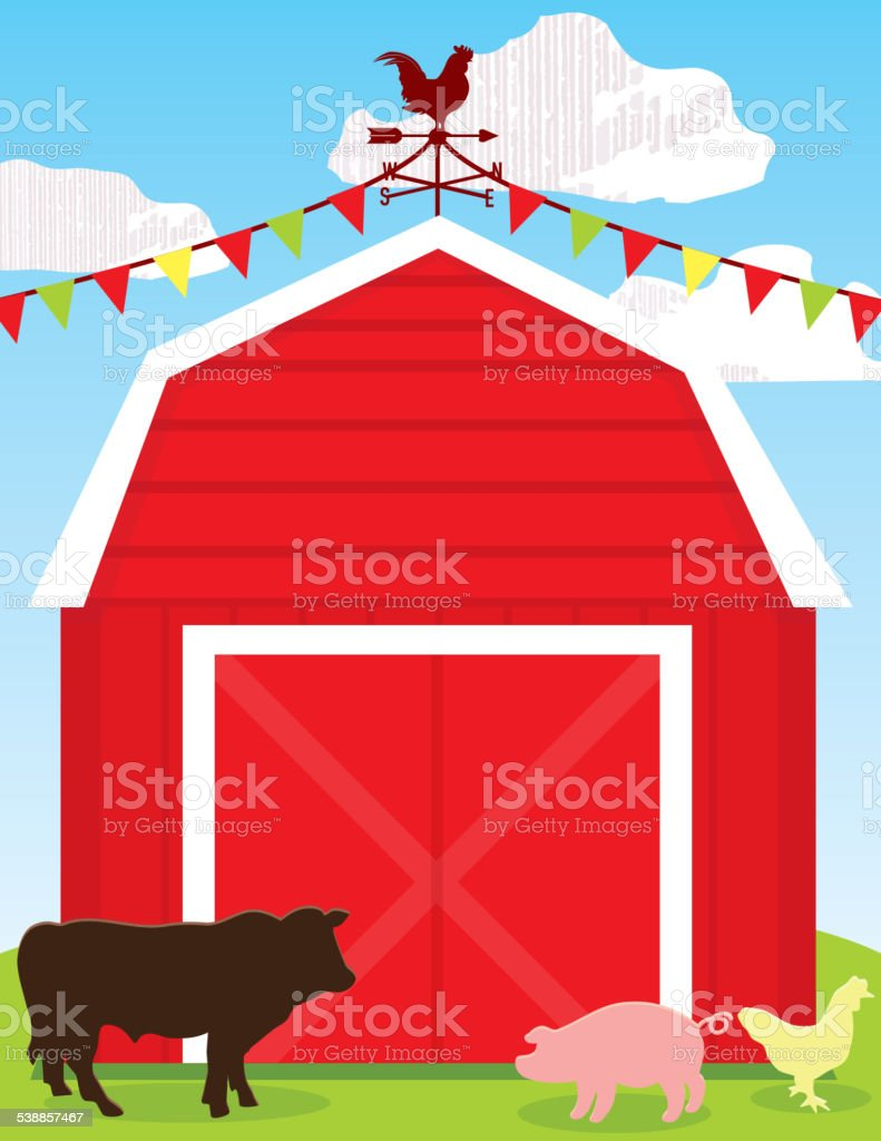 Cute red barn scene with farm animales and copy space vector art illustration