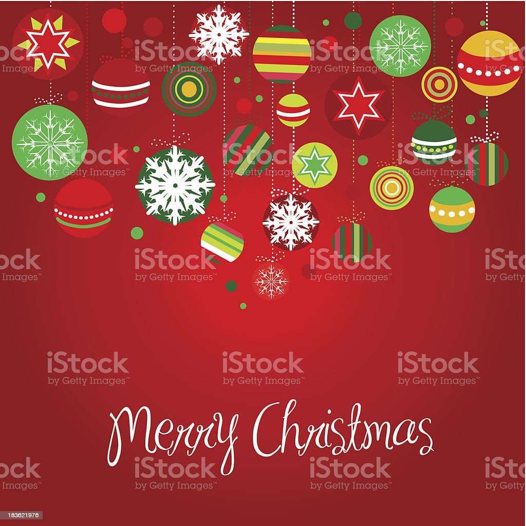 Cute red card with christmas balls royalty-free stock vector art