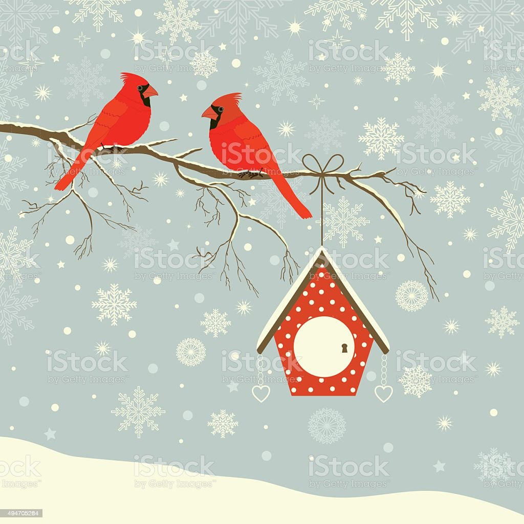 Cute red cardinal bird vector art illustration