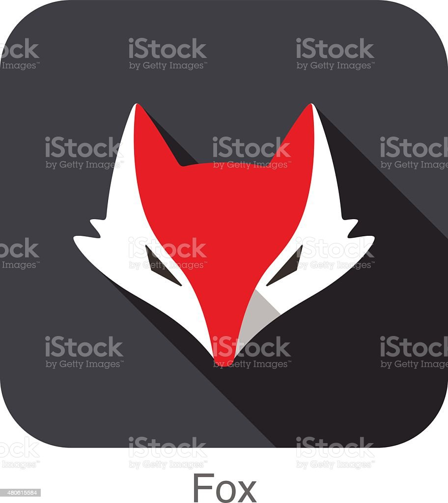 Cute Red Fox,  cartoon flat icon design vector art illustration