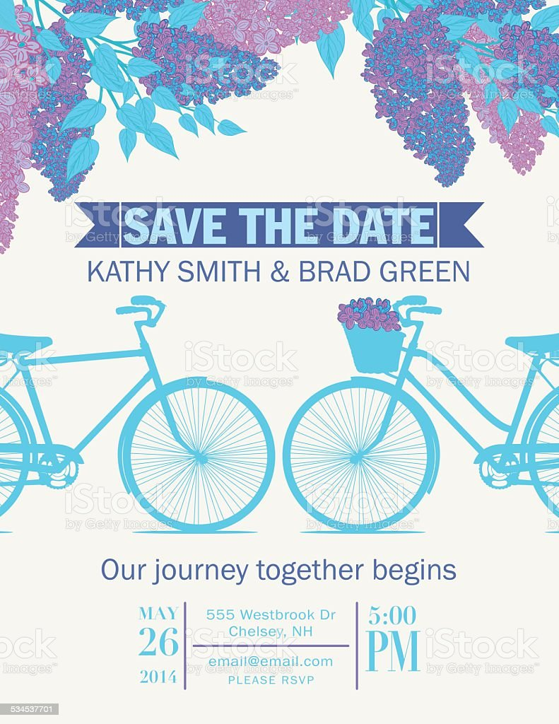 Cute Retro Bicycle Save The Date Wedding Announcement vector art illustration