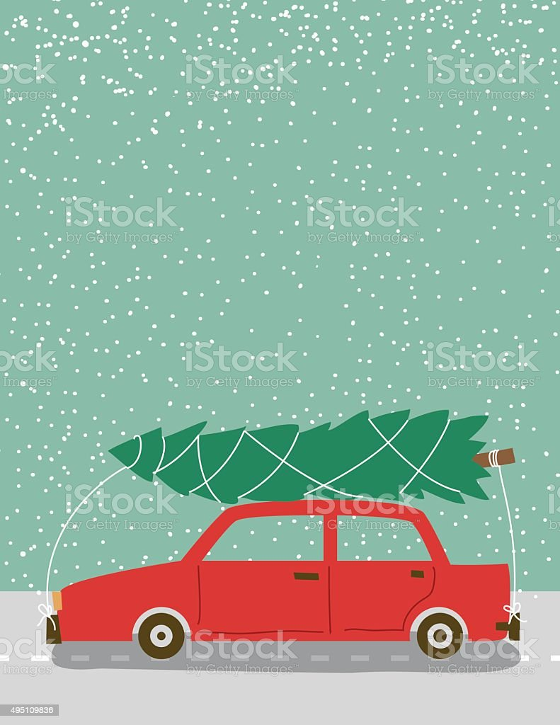 Cute Retro Car With Christmas Tree Tied On Top vector art illustration