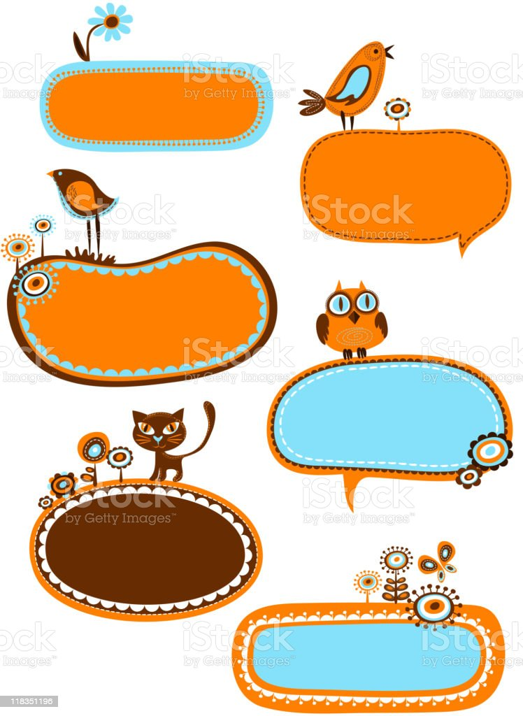 cute retro decorative frames and design elements royalty-free stock vector art