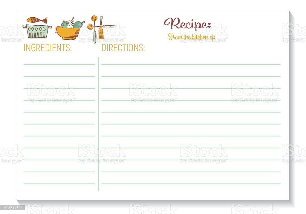 Cute Retro Kitchen Recipe Card Template Stock Vector Art