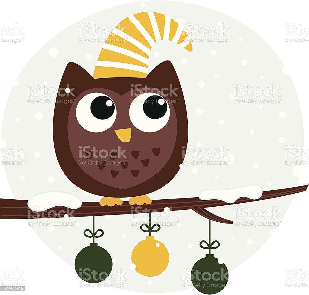 Cute retro owl sitting on the branch royalty-free stock vector art