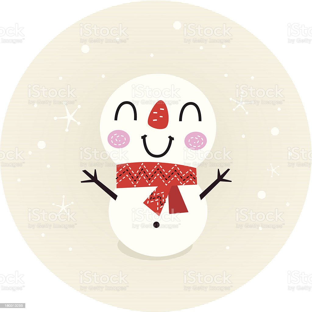 Cute retro Snowman in circle isolated on beige royalty-free stock vector art