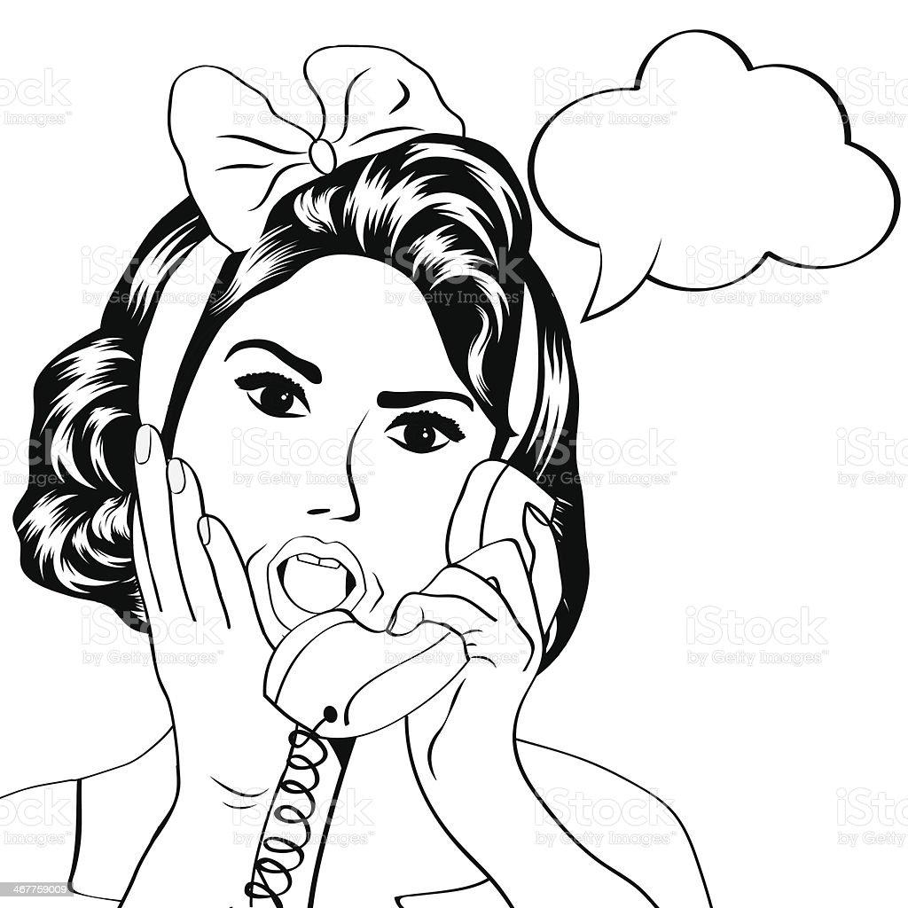 cute retro woman in comics style vector art illustration