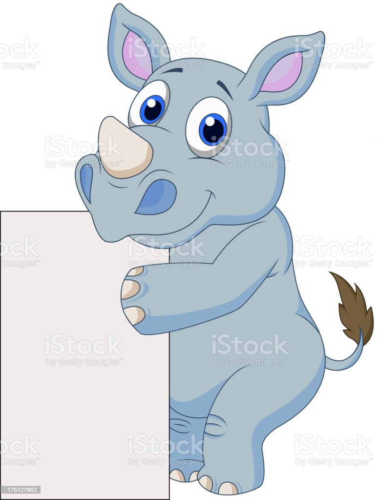Cute rhino cartoon with blank sign royalty-free stock vector art
