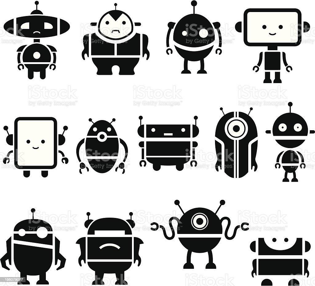 Cute Robot Symbols vector art illustration