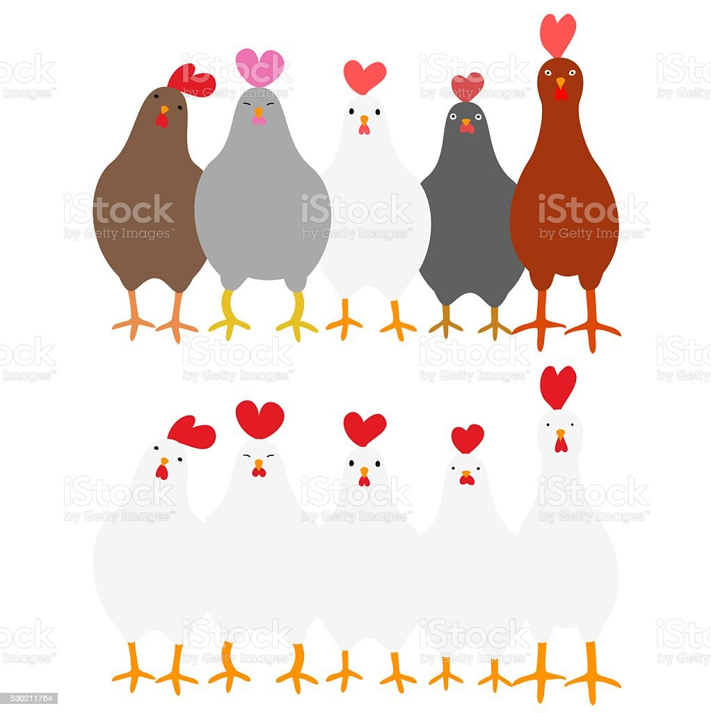 Cute roosters set vector art illustration