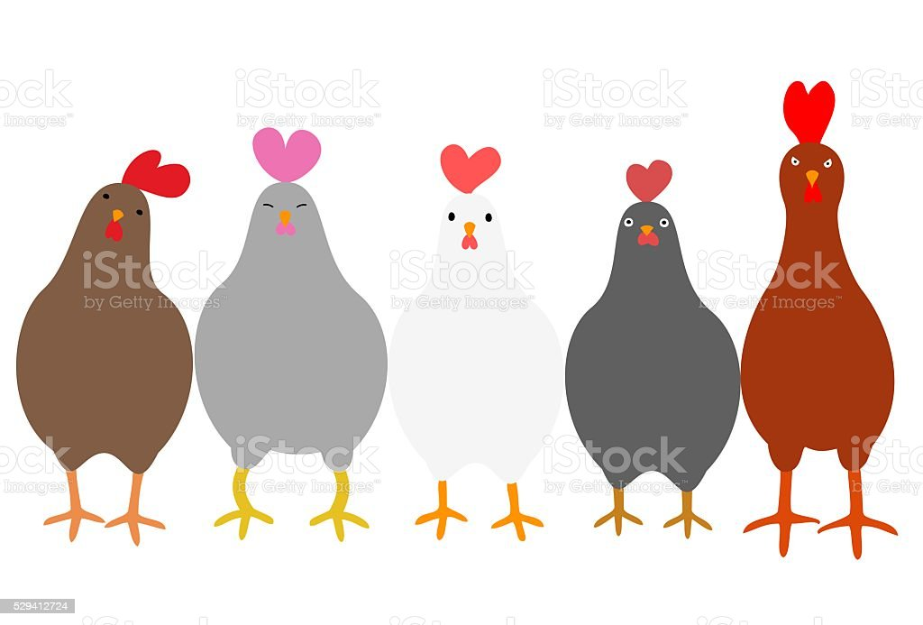 Cute roosters vector art illustration