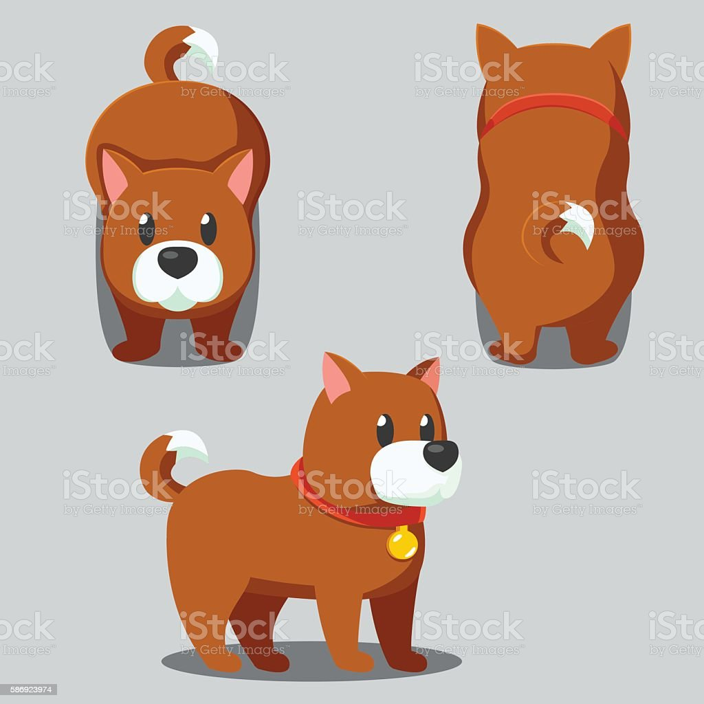Cute round dog stylized pet, Funny cartoon vector illustration vector art illustration