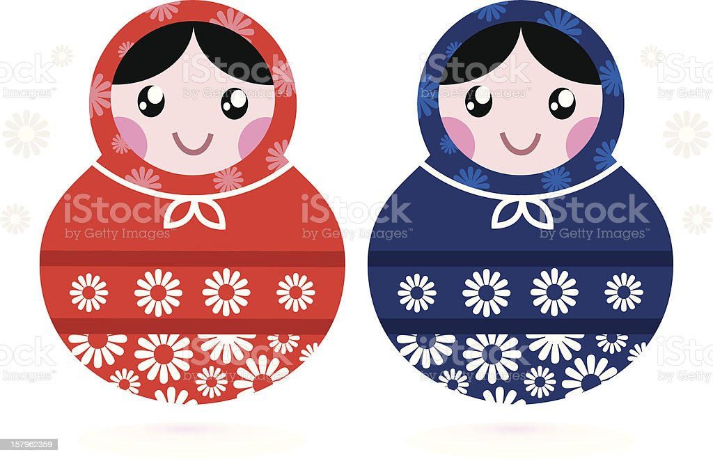 Cute Russian Matreshka dolls - red and blue royalty-free stock vector art