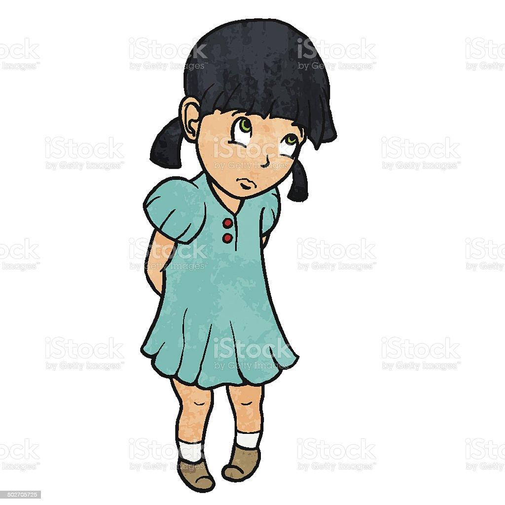Cute sad guilty little girl in blue dress. Cartoon illustration vector art illustration