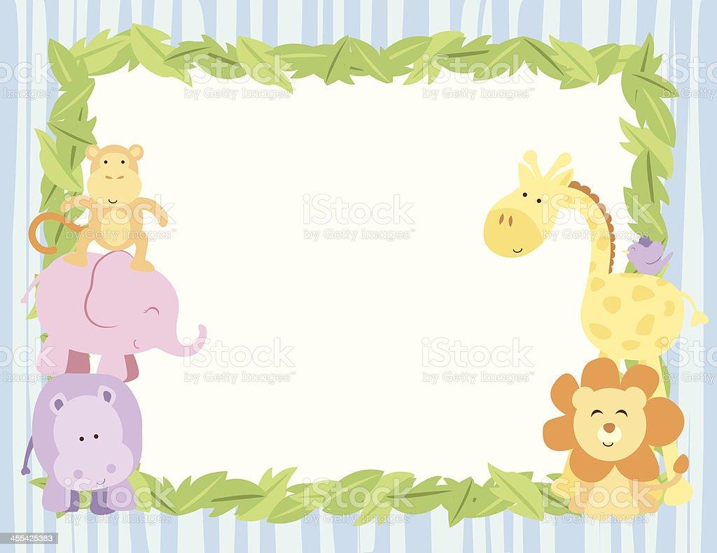 Cute Safari Animals Card With Leaves Border vector art illustration