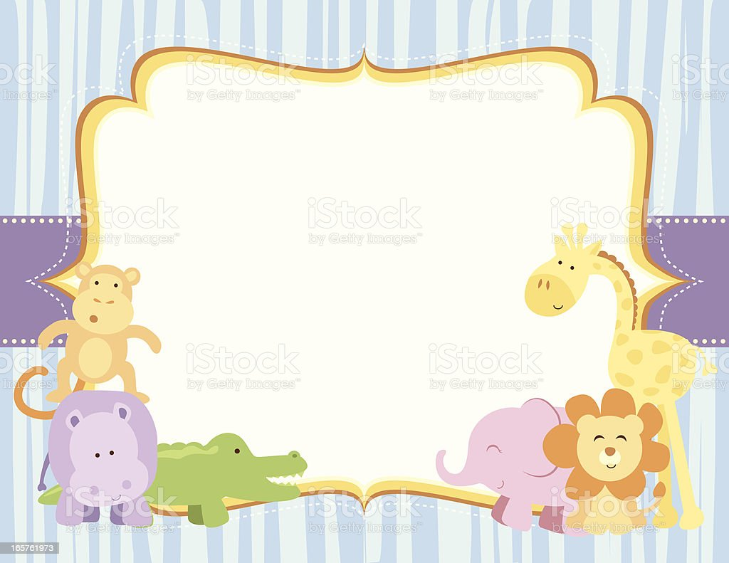 Cute Safari Animals Frame vector art illustration