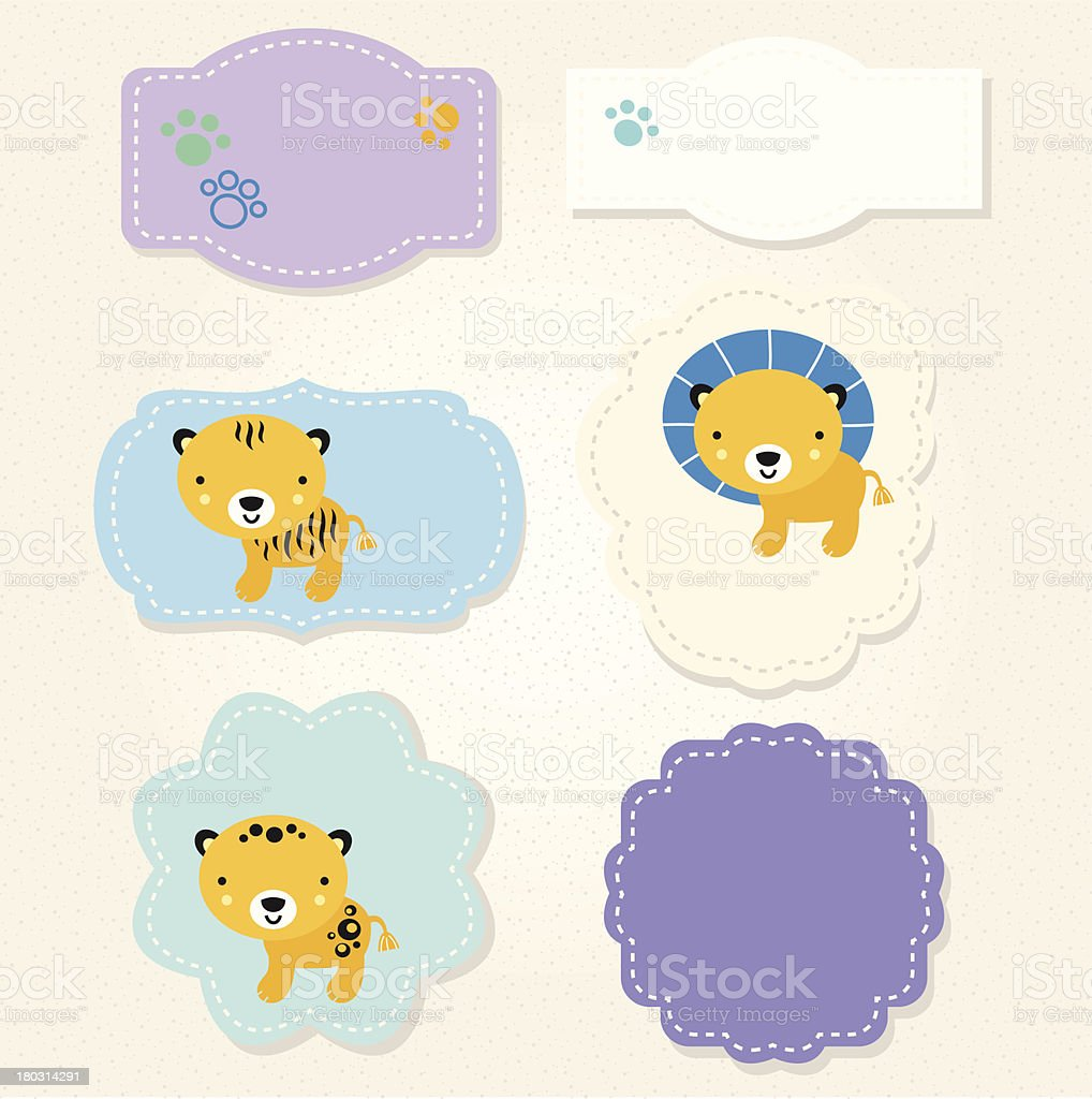 Cute Safari animals tags collection for baby boy royalty-free stock vector art