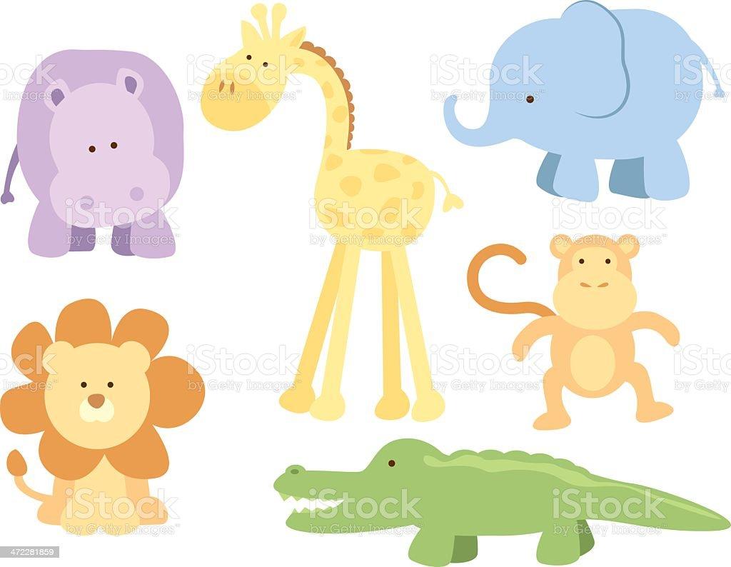 Cute Safari Animals vector art illustration