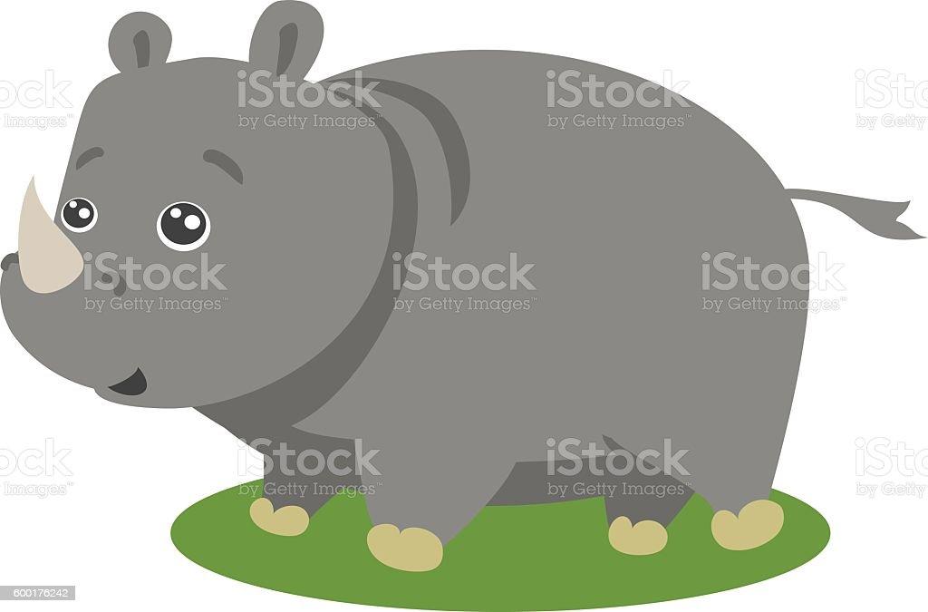 Cute Safari Rhino Vector Isolated vector art illustration