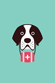 cute Saint Bernard dog, vector illustration