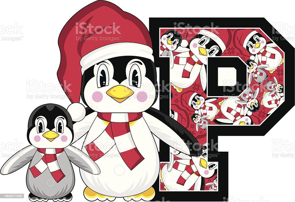 Cute Santa Penguin Learning Letter P royalty-free stock vector art