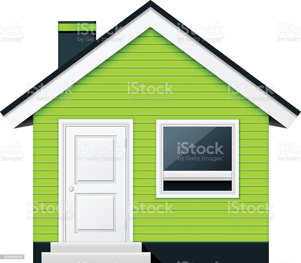 Cute scandinavian cottage - country house vector art illustration