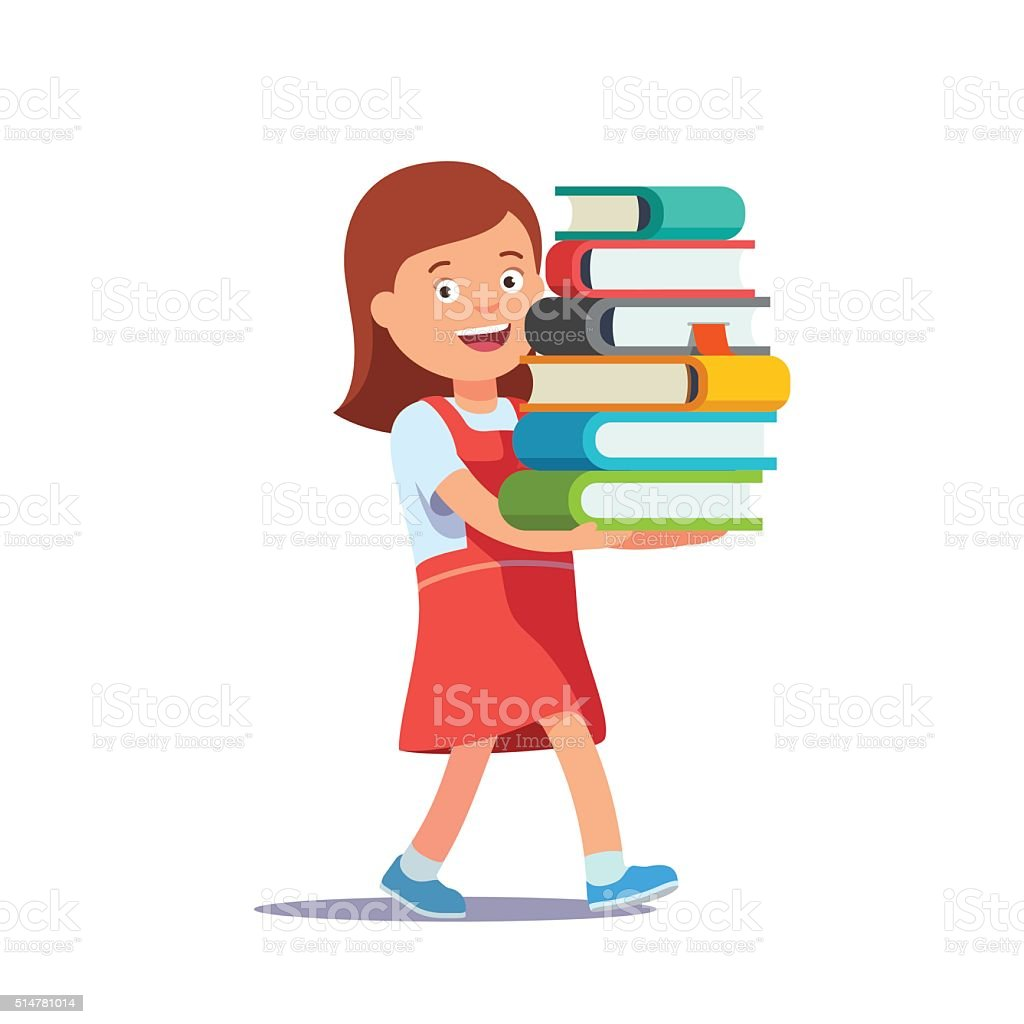 Cute school girl carrying big pile of books vector art illustration