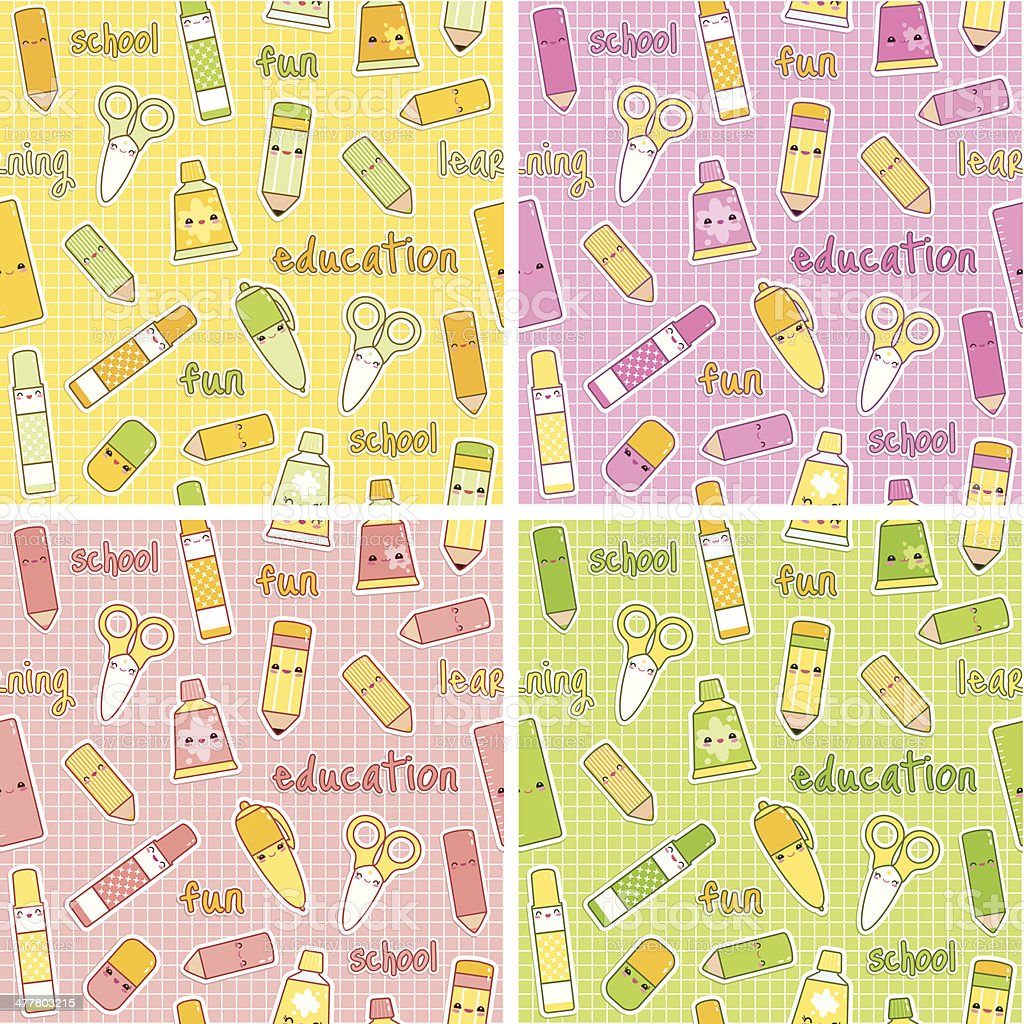 Cute School Supplies 4 Patterns Set royalty-free stock vector art