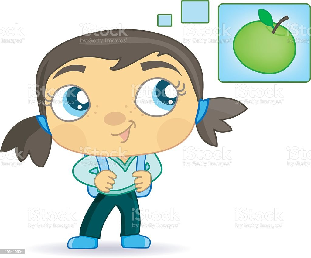 cute schoolgirl with applethoughts. vector art illustration