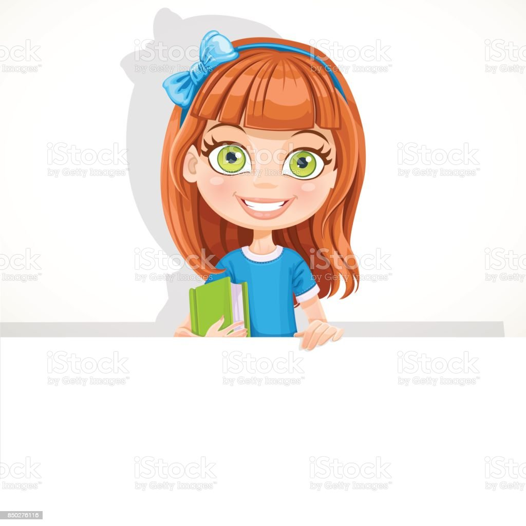 Cute schoolgirl with textbook hold big white banner vector art illustration