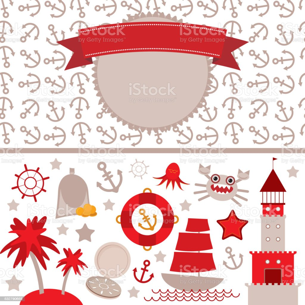 cute sea objects Vintage scrap nautical card frame, anchor pattern vector art illustration