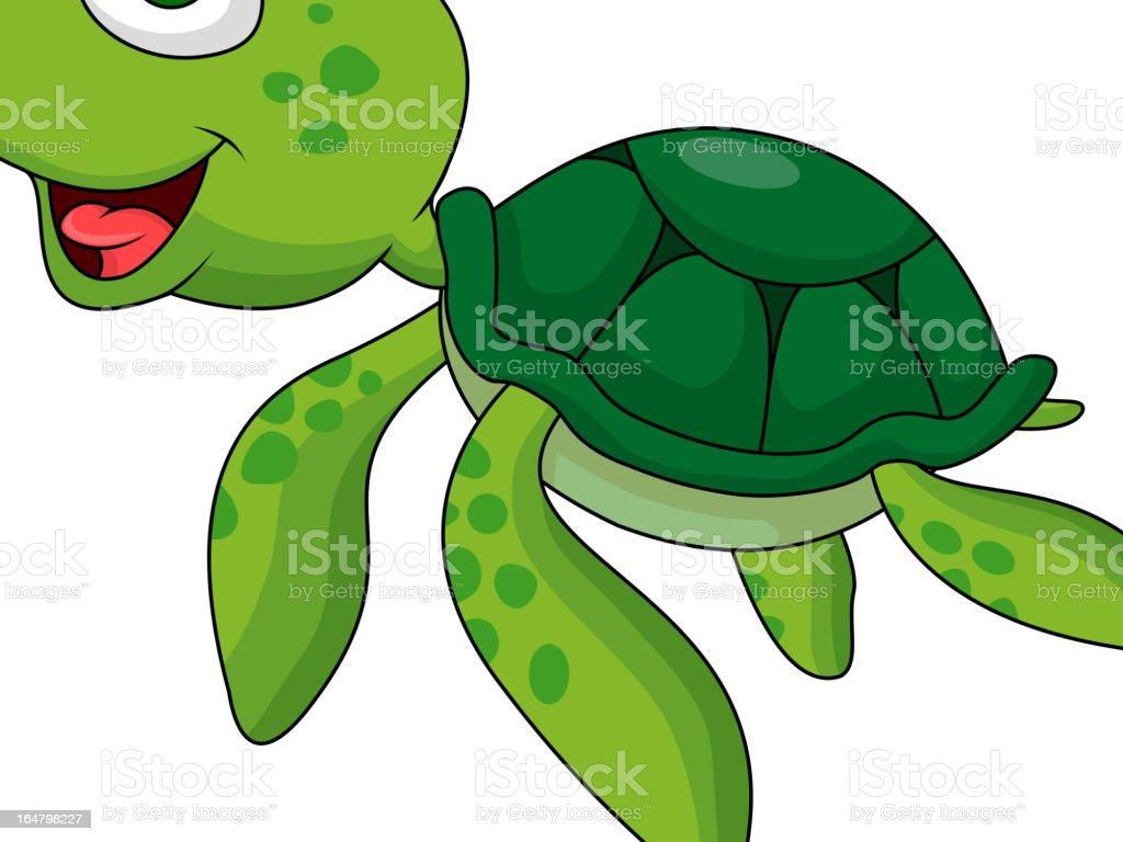 Cute sea turtle cartoon royalty-free stock vector art