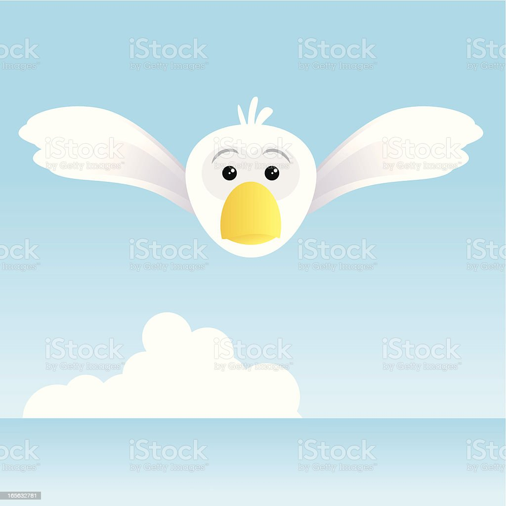 Cute seagull flying on the sea royalty-free stock vector art