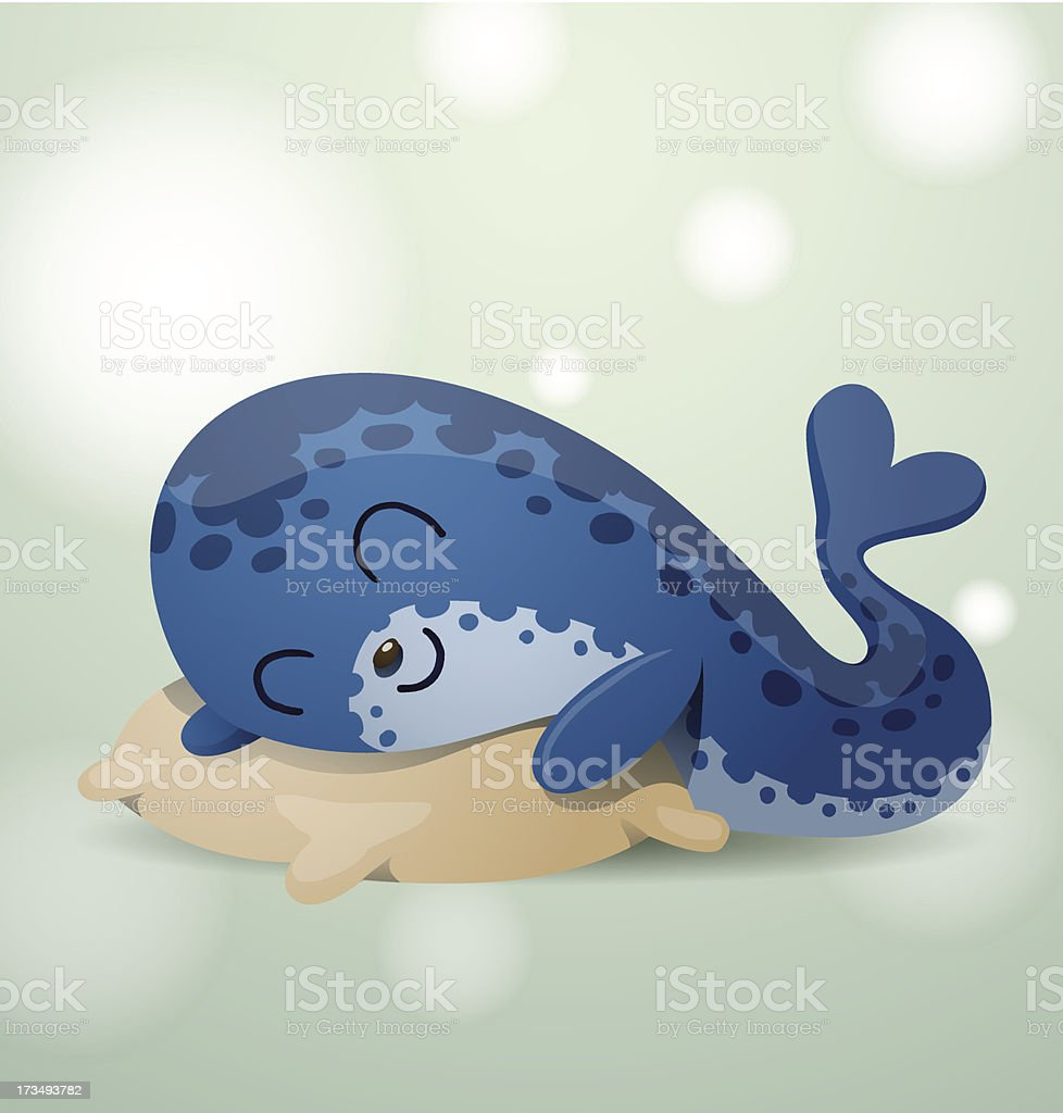 Cute seal lying on a pillow royalty-free stock vector art