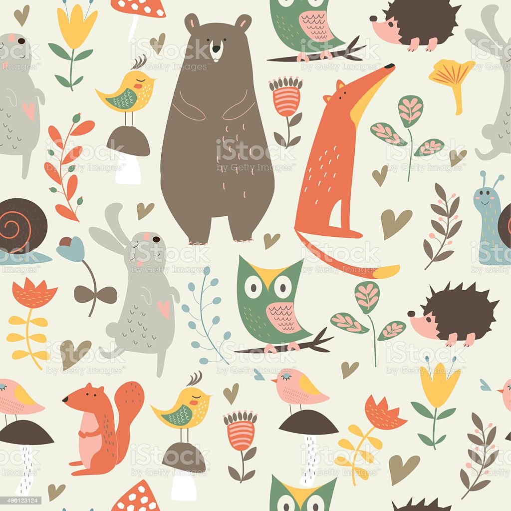 Cute seamless background vector art illustration