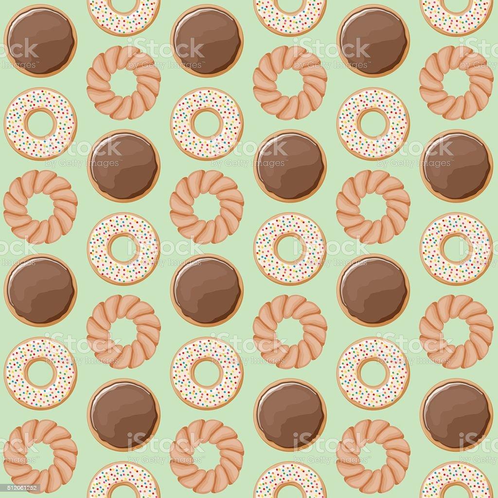 Cute Seamless Donut Pattern vector art illustration