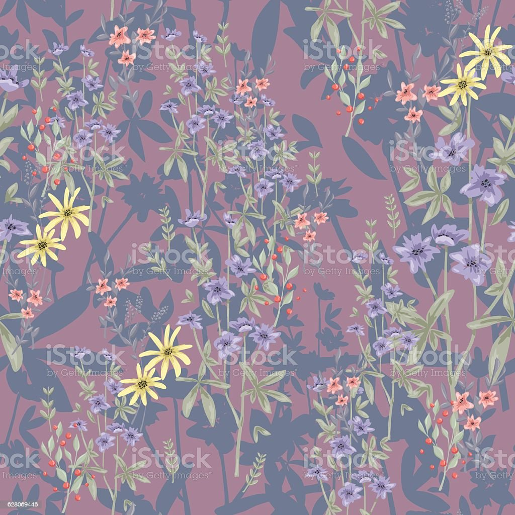Cute seamless floral pattern. Background  with flowers. vector art illustration