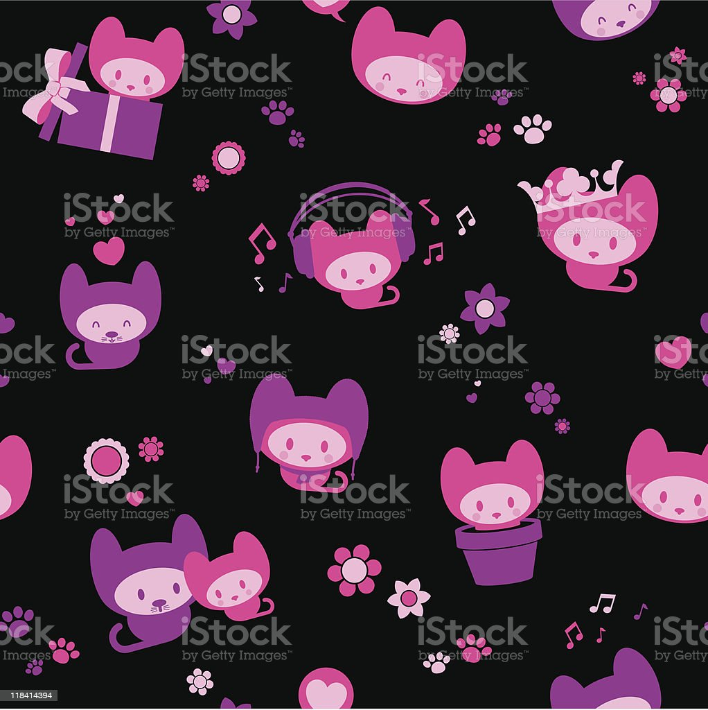 Cute seamless kitten background royalty-free stock vector art