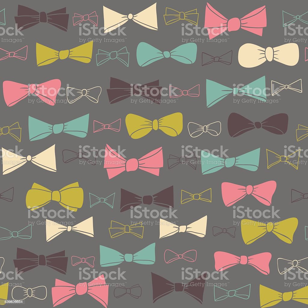 Cute seamless pattern of colored bows on gray background. vector art illustration