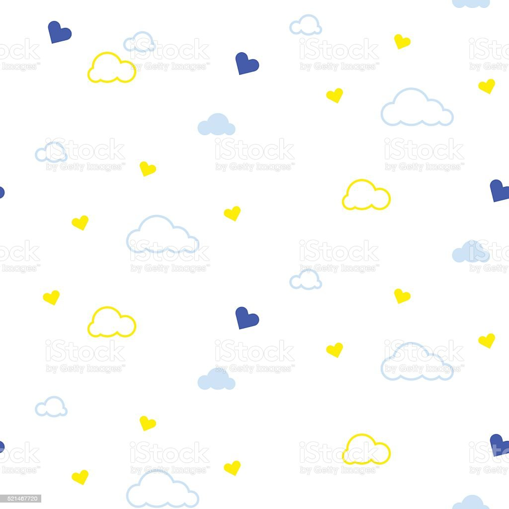 Cute seamless pattern with clouds and hearts. Design for kids vector art illustration