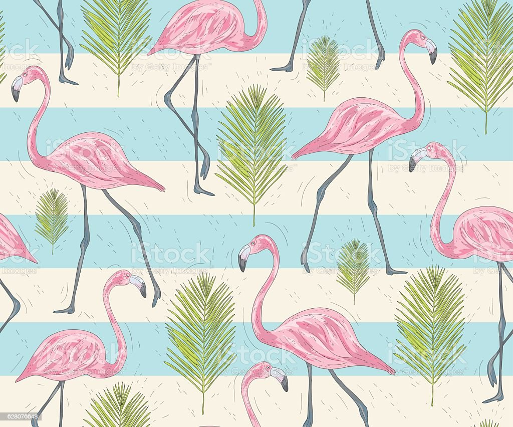 Cute seamless pattern with flamingos and palm. vector art illustration